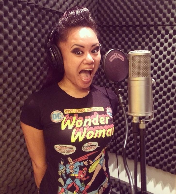 Doing some voice-overs in one of her favorite t-shirts