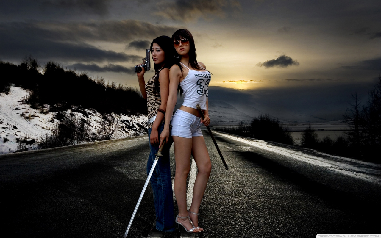 Women-Sunsets-Hwang-Mi-Hee-Asians-Gun-Sword-Guns-Roads-Winter-Landscapes-Girls-With-Swords-1280x800