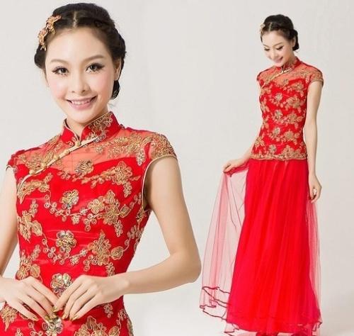 Fantastic Traditional Chinese Dress Women39s Satin Long Cheongsam Qipao Clothing
