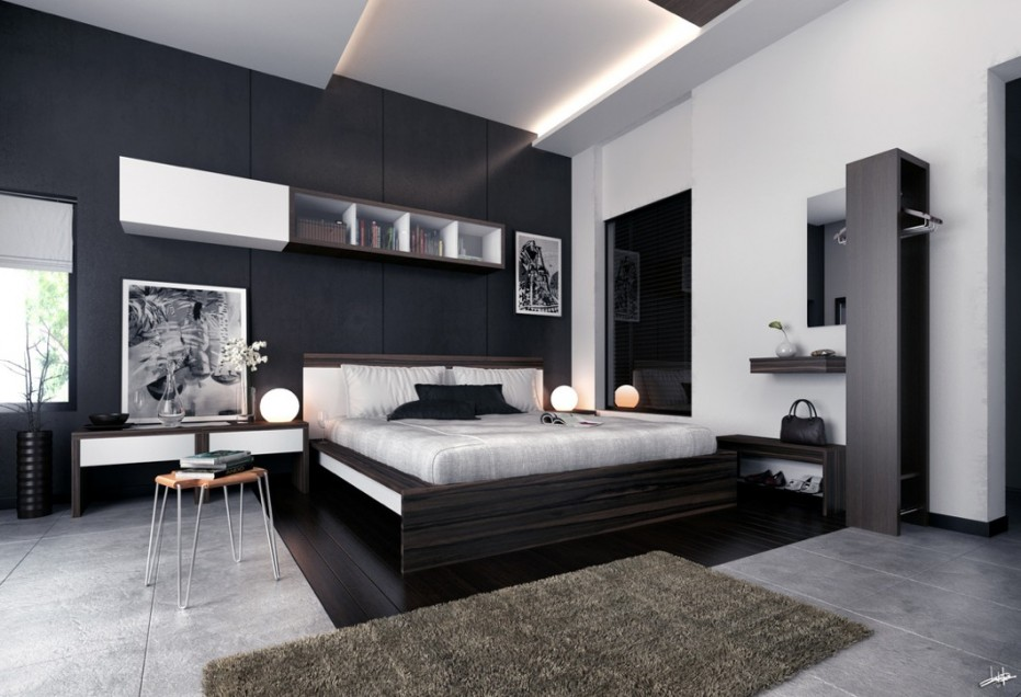 Monochrome-Modern-bedroom-black-and-white-prints