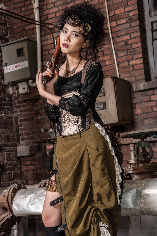 RQ-BL-Sexy-Gothic-off-shoulder-bat-sleeves-steampunk-shirt-SP095