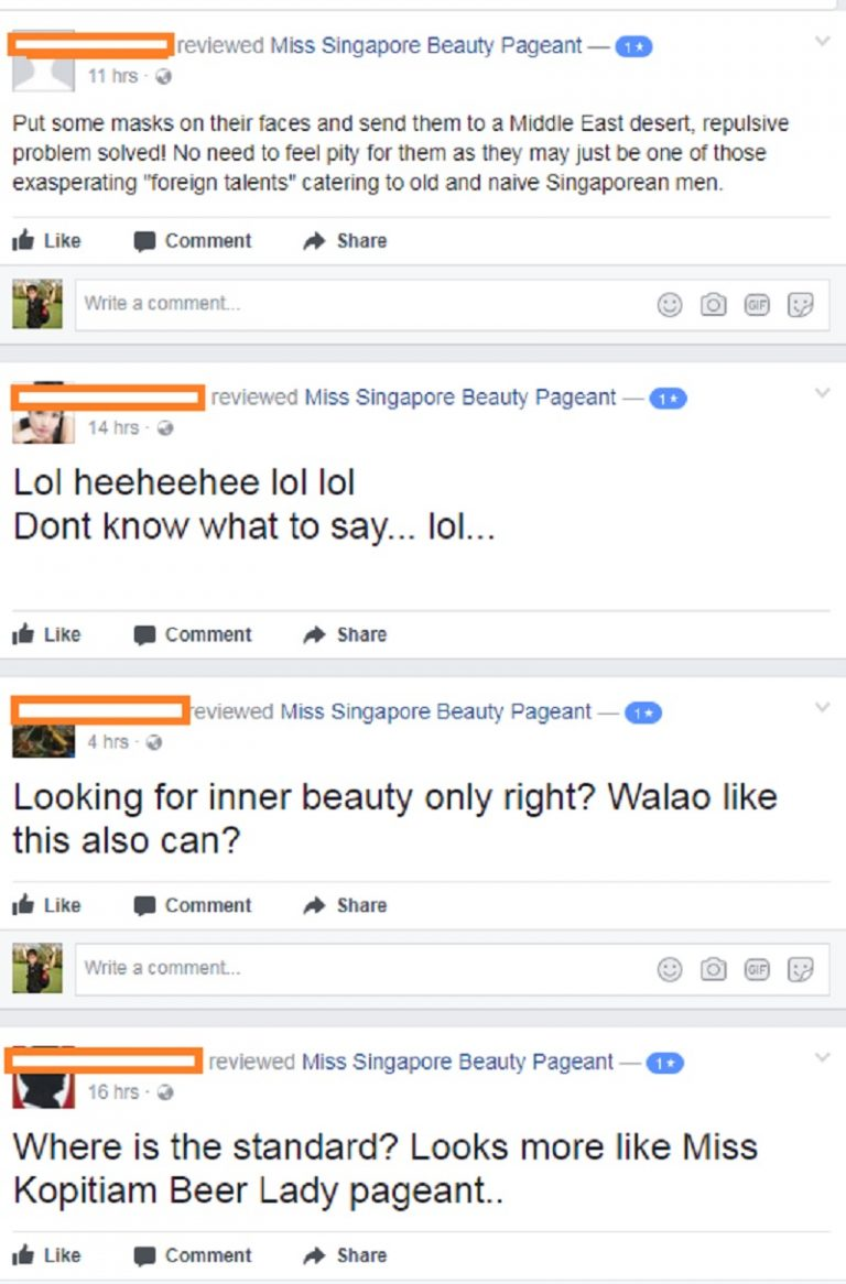 Miss Singapore Finalists Criticized for Being Ugly