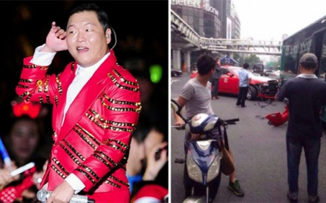 Psy Crashes Rolls Royce Into Bus While Visiting China
